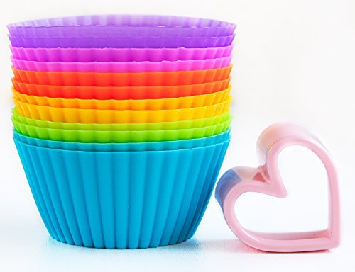 Silicone Baking Cups Baking Set of 12 in 6 Colors and a Heart Shaped Cookie Cutter