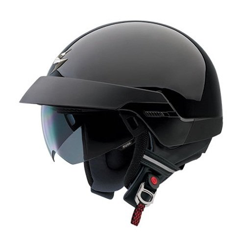Scorpion EXO-100 Open Face Motorcycle Helmet - Retractable Faceshield - Solid Black (Large - 89-5183)