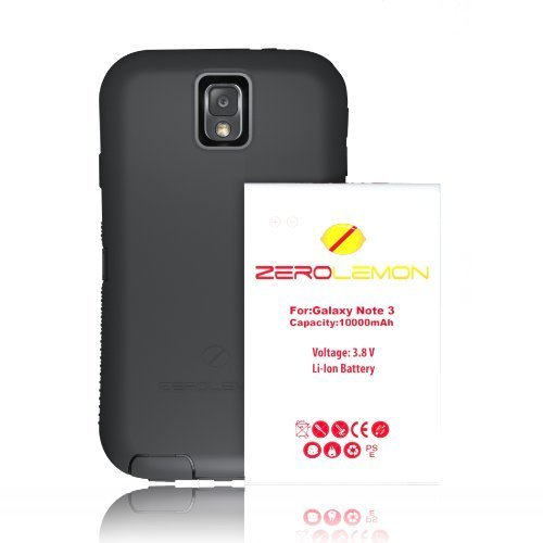 [180 Days Warranty] Zerolemon Samsung Galaxy Note 3 10000mah Extended Battery with NFC + Zeroshock Shockproof/Dustproof Rugged Case. Includes 10000mah Battery, Holster Kickstand, with Screen Protector Hybrid Cover. World's Highest Capacity Extended Battery + World's Only Universal Battery Fitting Case. (Compatible with Note 3 III N9000, N9005, Sm-n900t, Sm-n900w8, Sm-n900p, Sm-n900v, Sm-n900a)