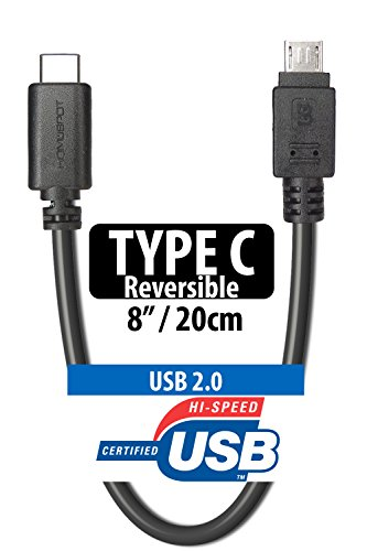 HomeSpot 8/ 20cm USB 3.1 Short Type C Cable, Type C Male to Micro USB Male USB 2.0 Reversible Hi-Speed for Apple New MacBook, Chromebook Pixel, Nokia N1, Nexus 6P 5X, Oneplus 2 & more(1 Pack- Black)