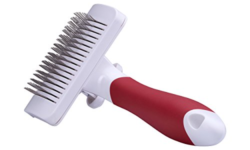 Funny Bonez Self Cleaning Slicker Brush is Perfect Brush for Dogs and Cats - Removes Mats and Tangles and is Comfortable for Your Pet's Skin - Easy To Use Self Cleaning Design Makes Clean Up Simple