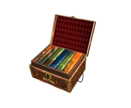 Harry Potter Books Set #1-7 in Collectible Trunk-Like Toy Chest Box , Decorative Stickers Included