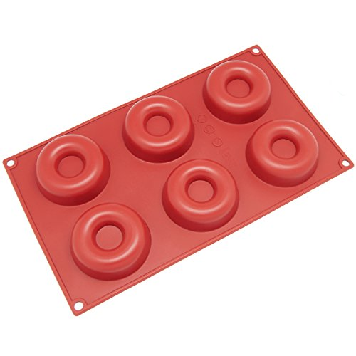 Freshware SL-102RD 6-Cavity Savarin Silicone Mold for Donut, Cake, Bread, Cupcake, Cheesecake, Cornbread, Muffin, Brownie, and More
