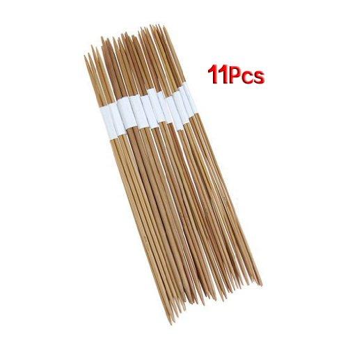 11 x 4pcs 25cm Double-Pointed Bamboo Knitting Needles Size Range: 2.0-5.0mm