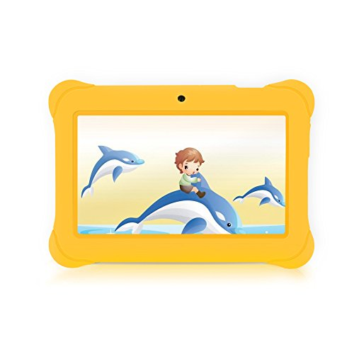 iRULU BabyPad Y1 7 Inch Kids Android Tablet, GMS Certified by Google, Android 4.4 KitKat, A33 ARM Cortex-A7 Quad Core, 1024*600 Resolution, 1GB RAM, 8GB Nand Flash, with Wifi, Games, Dual Cameras - Yellow Tablets for Toddlers
