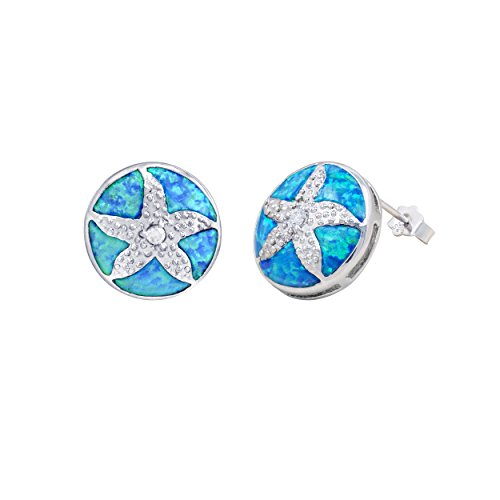 Sterling Silver Sand Dollar with Synthetic Blue Opal Stud Earrings