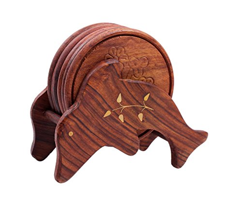 Mothers Day Gifts Hand Carved Wooden Drink Coasters Set of 6 in a Dolphin Shaped Holder, Bar Dining Accessories
