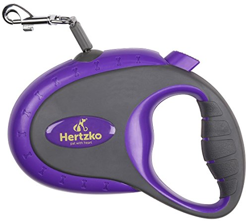 Heavy Duty Retractable Dog Leash By Hertzko - Great for Small & Medium Dogs up to 44lbs - Strong Nylon Ribbon Extends 16ft
