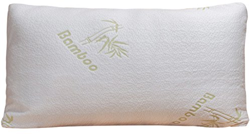 Bamboo Pillow - Firm Shredded Memory Foam - Stay Cool Removable Cover With Zipper - Hotel Quality Hypoallergenic Firm Pillow Relieves Snoring, Insomnia, Asthma, Neck Pain, TMJ, and Migraines