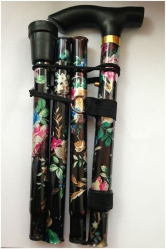Black Floral Lightweight Walking Stick