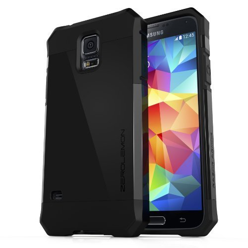 [180 Days Warranty][Case WITHOUT Battery] Zerolemon Samsung Galaxy S5 Case Razor Armor Large Button Design Slim Fit Dual Layer Protective Case for Galaxy S5 / Galaxy Sv / Galaxy S V (2014) - Matte Black by ZeroLemon