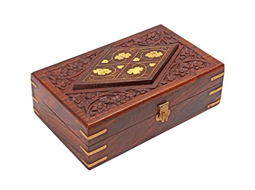 Mothers Day Gifts Decorative Wooden Jewelry Trinket Box Keepsake Organizer - Hand Carved Chest with Brass Inlay