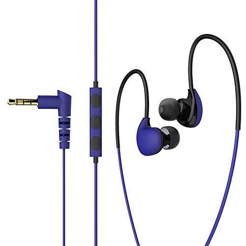 MAXROCK (TM) Wired In-earSport Adjustable Earhook Headphones with Mic and Volume Control for Cellphones, Tablets... (Blue)