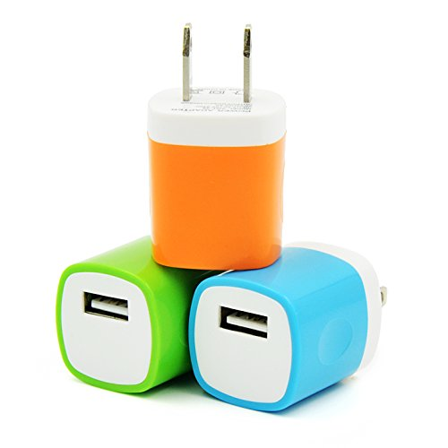 Eversame 3 Packs USB AC/DC 1.0A Universal Home Travel Power Charger Adapter For iPhone 6S Plus/5S/4S iPod Samsung Galaxy S6/5/4 edge Note 5/4/3 HTC LG Nokia and Most Android Phones(Orange Green Blue)