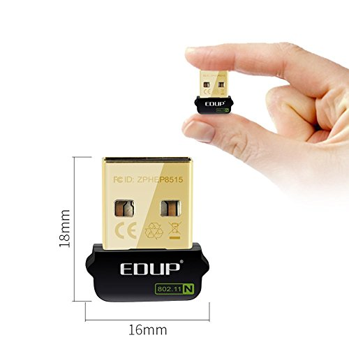 Wireless Adapter EDUP Nano Size 150Mbps WiFi USB Wireless Dongle for Raspberry Pi / Pi2, Supports Windows, Mac OS, Linux (Black/Gold)