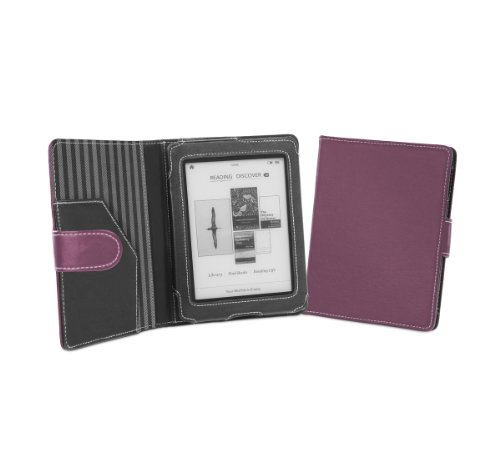 Cover-Up Kobo Mini (5-inch) eReader Genuine Leather Cover Case With Auto Sleep / Wake Function (Book Style) - (Purple)