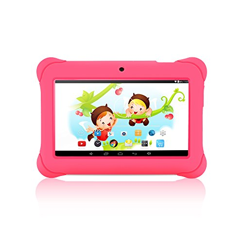 iRULU BabyPad Y1 7 Inch Quad Core Kids Tablet, Android 4.4 KitKat, GMS Certified by Google, 1024*600 Resolution, 1GB RAM, 8GB Nand Flash, with Dual Cameras (Pink)