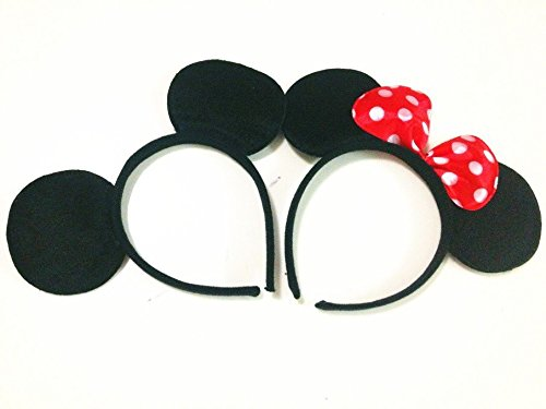 Mouse ears headband Children birthday party supplies Mom Baby Hairs Accessories Girl Headwear party decoration baby shower Halloween Set of 2