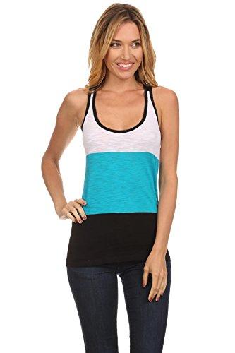 Womens Casual Striped Scoop Neck Sleeveless Racerback Cotton Tank Top, Reg, Plus