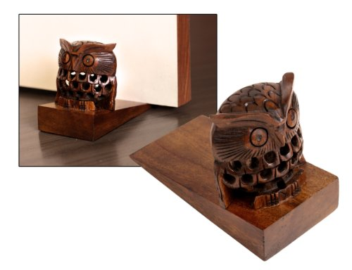 Mothers Day Gifts Handcrafted Rosewood Door Stopper or Holder Owl Shaped