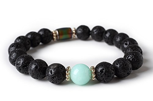 Cat Eye Jewels Unisex 10mm Natural Lava Rock Energy Bracelet with Birthstone Beads Discolor Mood Charms