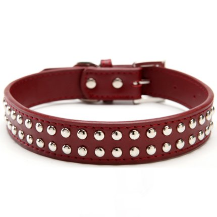 BINGPET BA2006 Real Split Leather Studded Pet Dog Collar