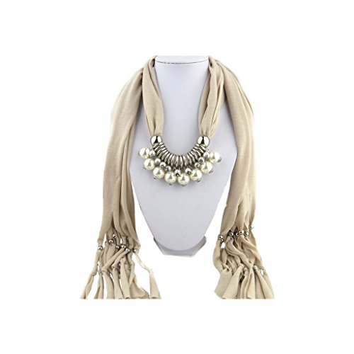 Light Grey Scarf Shawl with Vintage Charm Silver Elegant Studded Small and Big Pearls Pendant