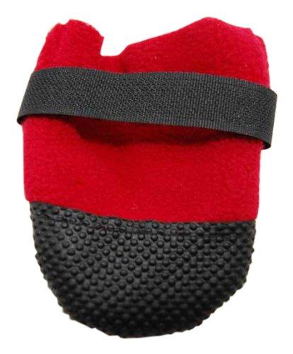 Muttluks Hott Doggers Lightweight Fleece Dog Boots, Medium, 3.25-inch/ 3.75-inch, Red