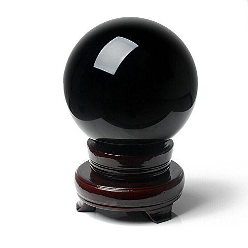 Amlong Crystal 2 (50mm) Natural Black Divination Sphere Crystal Ball with Stand