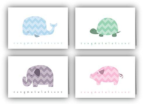 Chevron Animals Baby Congratulations Cards - 24 Cards & Envelopes