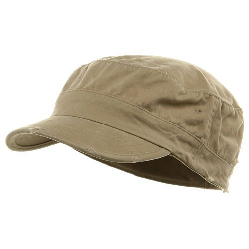 Washed Cotton Fitted Army Cap-Khaki W32S33F