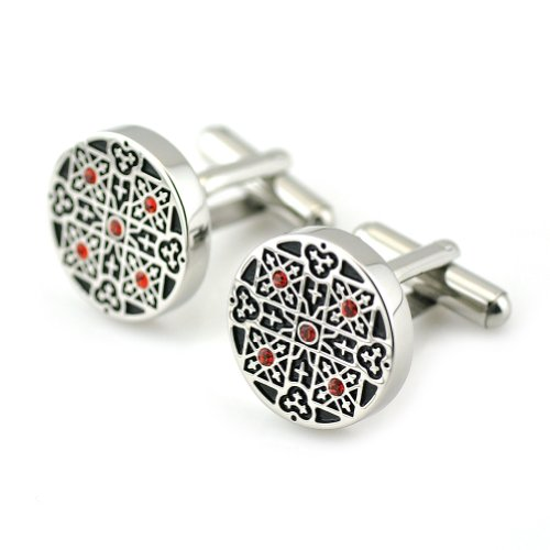 PenSee Rare Retro Stainless Steel & Czech Crystal Diamond Cufflinks for Men with Gift Box