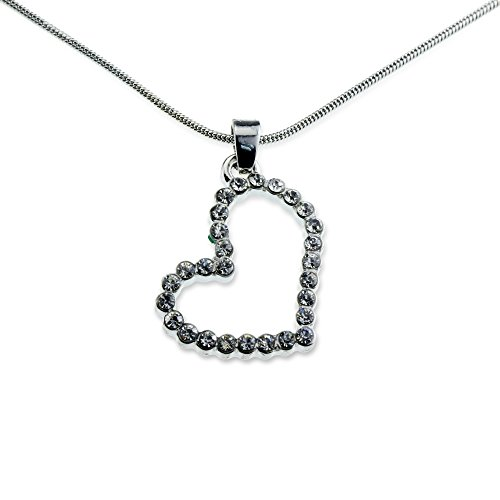 Heart Crystal I Love You Necklace Accent Pendant Jewelry Best Valentine's Day Anniversary Gift for Women
