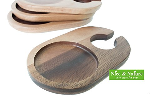 Acacia Wood Cocktail Plates Set of 4, Acacia Appetizer Plate Set, Acacia Wood Plate Set, Acacia Dining, Appetizer Plates with Wine Glass Holder