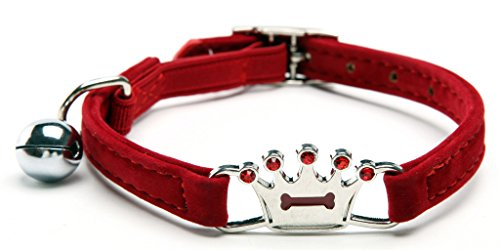 Red Designer Crown Cat Collar with Safety Belt and Bell 8-11 Inches