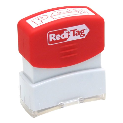Redi-Tag-Pre-Inked Paid Stamp, Impression Size:9/16 X 1-11/16-Inch, Red-97002