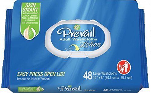 Prevail Soft Pack with Press N Pull Lid Washcloth (8x12) Case of 12 packages of 48