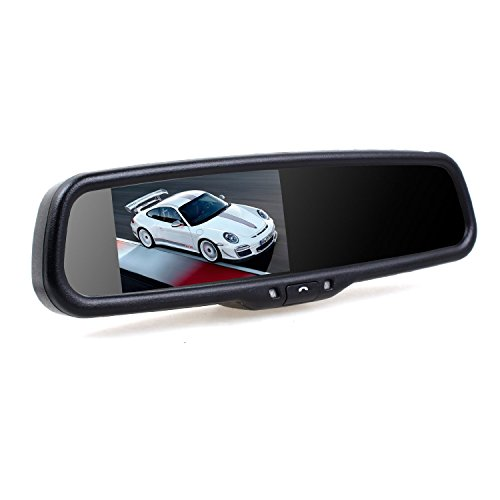 AUTO-VOX 4.3 Build-in Bluetooth Upgraded Car Rearview mirror with Dual Videos Inputs and Auto Adjust Brightness LCD monitor Compatible with Car Rearview Backup camera