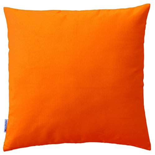 JinStyles Soft & Thick Cotton Canvas Accent Decorative Throw Pillow (Solid Orange, Square, 1 Cushion Sham for 20 x 20 Inches Inserts)