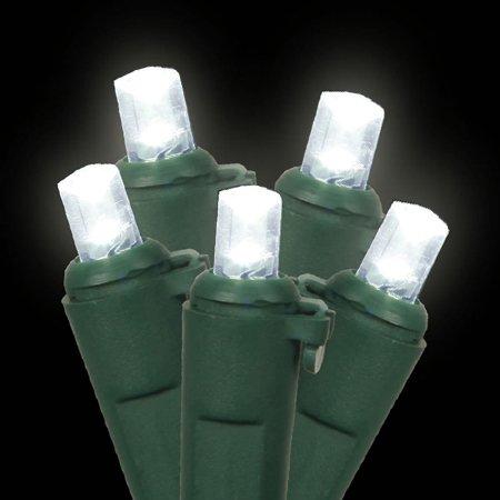 Pack of 12 Polar White LED Wide Angle Replacement Christmas Light Bulbs - Green Husk