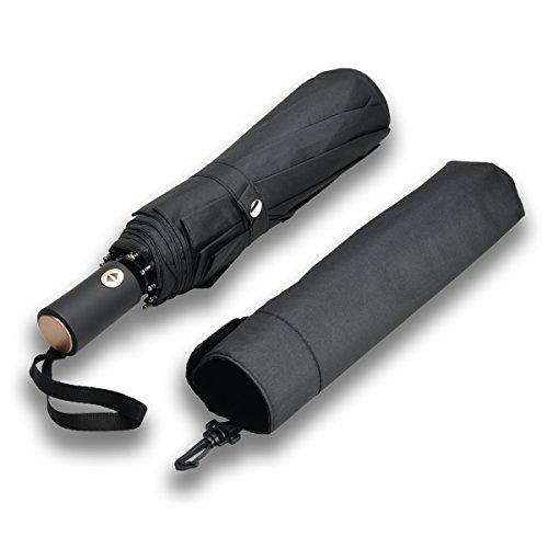 Corlfe Auto Open & Close Folding Umbrella, One-touch Automatic, Water-repellent Fabric, 10 Ribs Windproof, 128cm Travel Umbrella with Pouch - Men's, Ladies(Black)