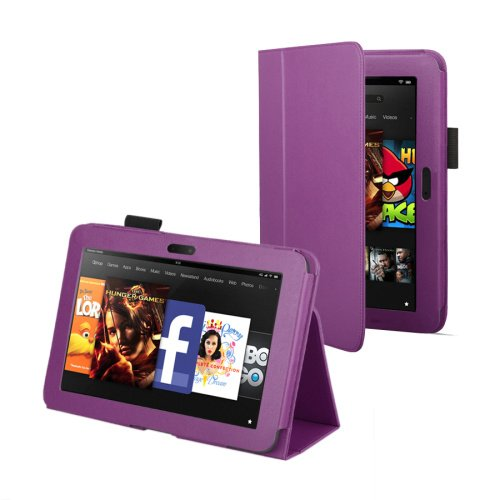 Purple Leather Cover Sleeve Case With Stand and Sleep Mode For Amazon Kindle Fire HD 7 (Previous Generation)