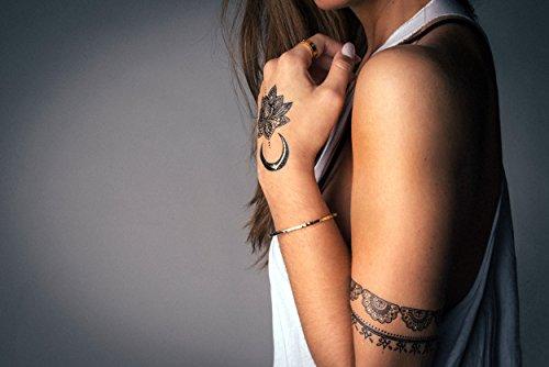 TribeTats Onyx Goddess Black Flash Tattoos | Henna Inspired | 2 Sheets of Black & Gold Metallic Temporary Tattoos | No Scissors Needed | Jewelry-Inspired Body Art Lasts 1 Wk | Waterproof & Non-Toxic