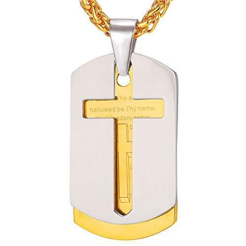 U7 Stainless Steel Men Chain Bible Lord's Prayer Cross Necklace 18K Gold Plated Dog Tags Pendant