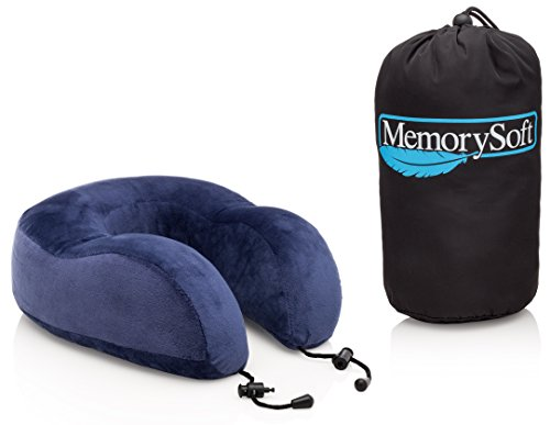 NEW Luxury Travel Neck Pillow by MemorySoft - Extremely Soft & Comfy Memory Foam Neck Pillow - Great Travel Accessories Gift - Includes a Handy Travel Bag - No Hassle Guarantee