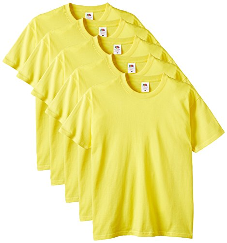 Fruit of the Loom Men's Heavy Cotton 5 Pack Regular Fit Round Collar Short Sleeve T-Shirt