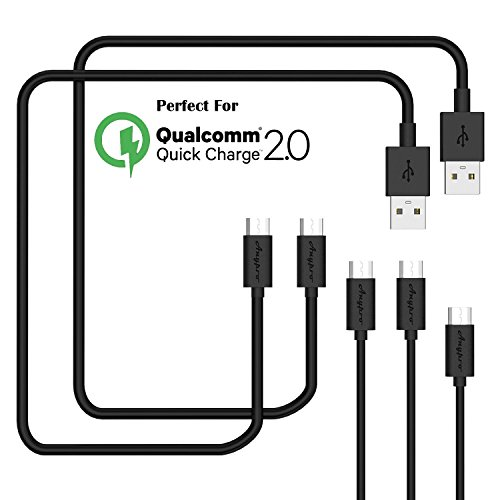USB Cables, Anypro 5 Pack (3m*2,1m*2,0.3m) Micro usb Cables Data Cord, High Speed USB 2.0 A Male to Micro B Sync for Android, Samsung, HTC, Nokia, Sony, LG, Blackberry, Motorola, Black