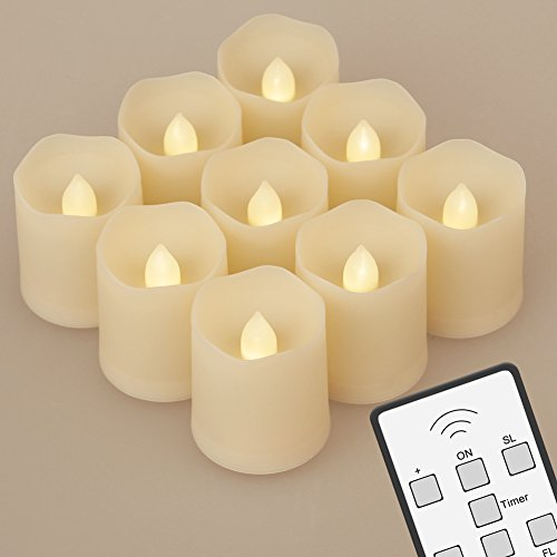 9 LED Tealights w/ Remote, Timer, 3 Modes and Batteries (120 Hours of Lighting), Dimmable Flameless LED Votive Tea Lights Candles for Christmas Birthday Parties Weddings Festivals Decorations