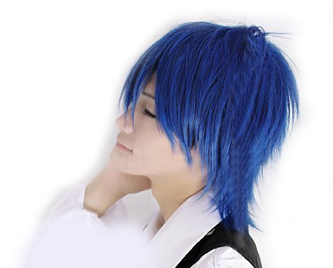 Short Anime Vocaloid Kaito Cosplay Party Wig (Model: Jf010306) (Blue)