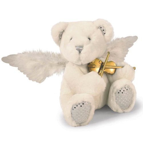 Harmony- Animated Plush Singing White Christmas Holiday Teddy Bear With Color Changing Fiber Optic Wings And Violin Animation Plays Silent Night